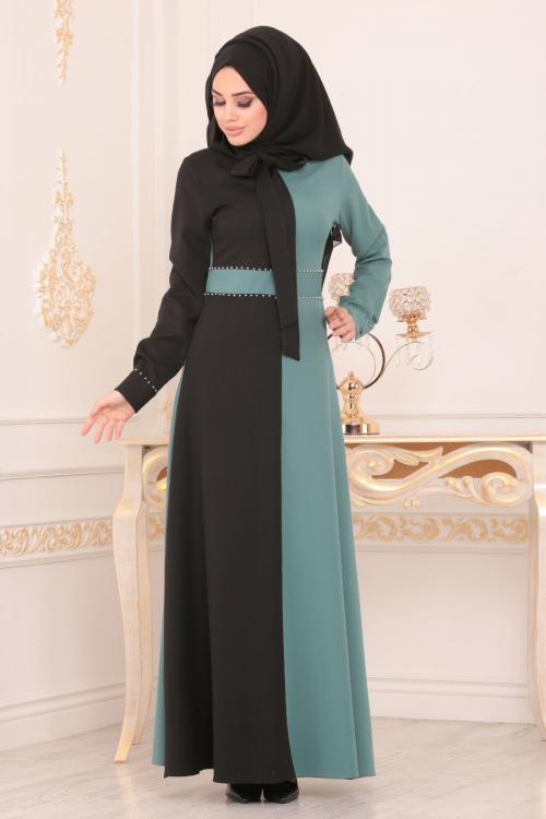 Nayla Collection - Püsküllü Bisküvi Tesettür Elbise 40640BS