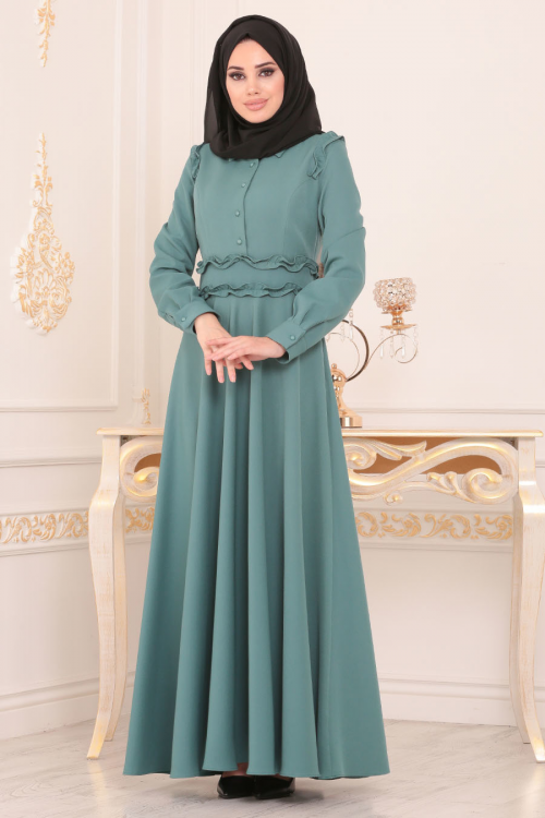 Nayla Collection - Püskül Detaylı Desenli Tesettür Elbise 3195DSN