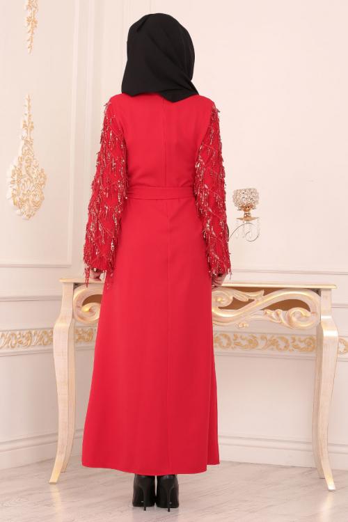 Nayla Collection - Püsküllü Kırmızı Tesettür Elbise 40640K