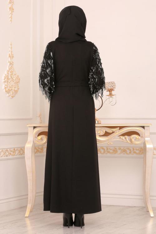 Nayla Collection - Püsküllü Siyah Tesettür Elbise 40640S